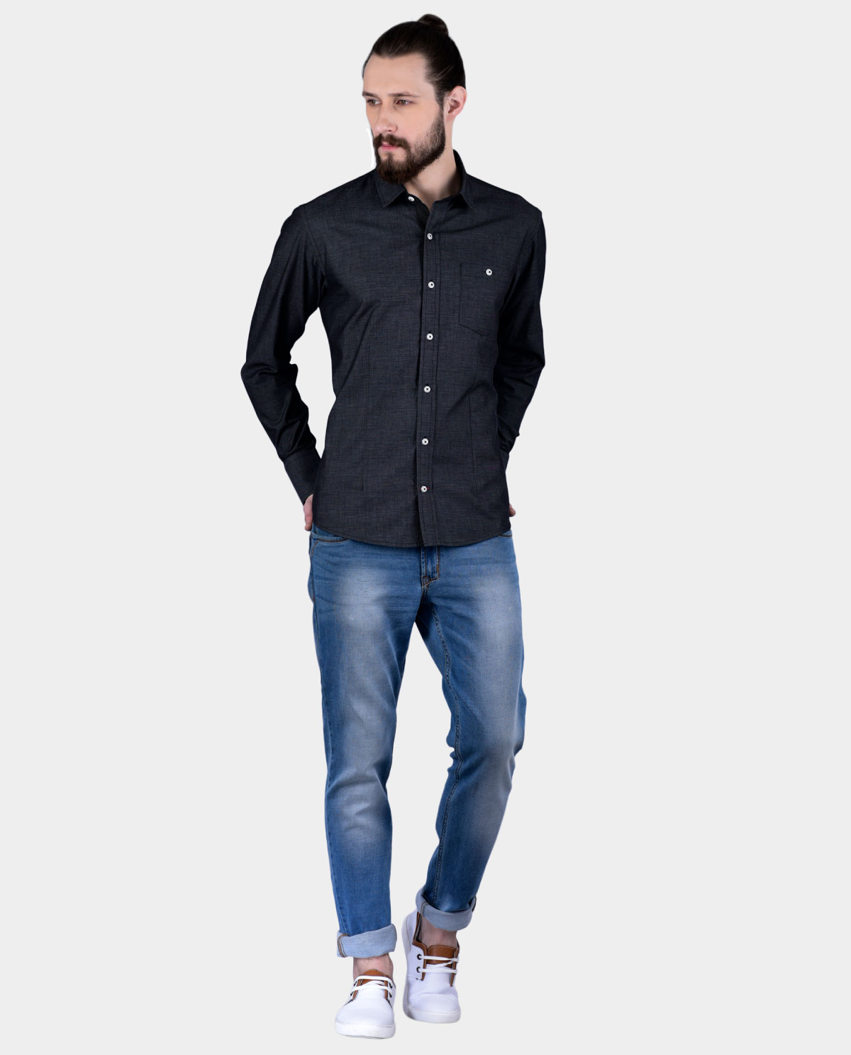 Black full sleeve shirt for men 1 kashvi design for Full sleeves t shirts for men