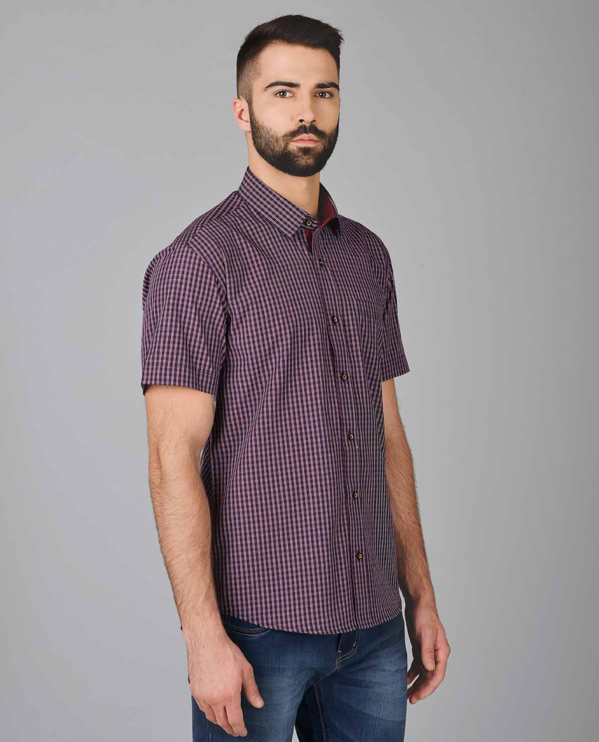 Red-and-Black-Small-Check-Half-Sleeve-Shirt-for-Men-3 ...