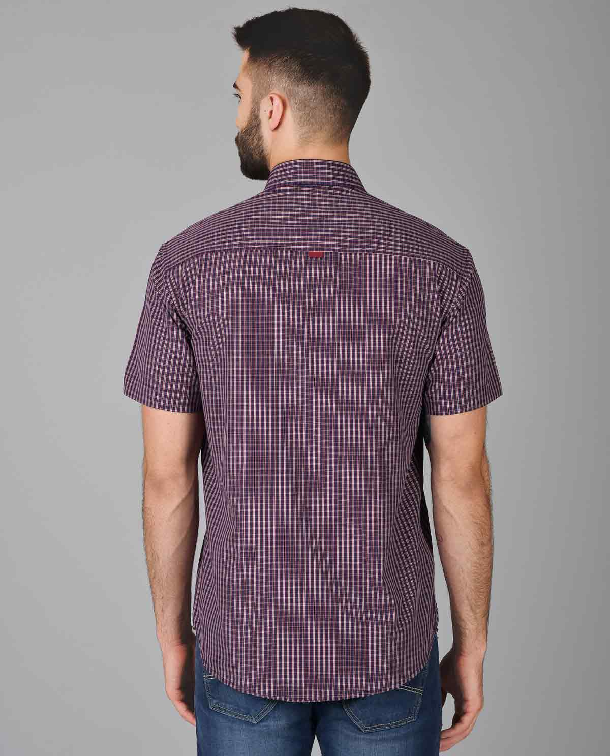 Red-and-Black-Small-Check-Half-Sleeve-Shirt-for-Men-5 ...
